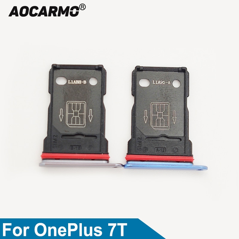 Aocarmo Dual SIM Card Tray For OnePlus 7T Sim Card Slot Holder Repair Replacement Parts