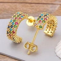 new arrival original design fashion rainbow earrings jewelry semicircle girls zircon stud earrings best birthday party gift