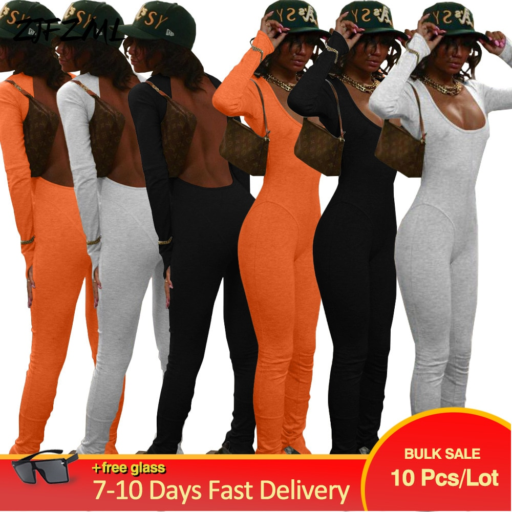 Bulk Lots Wholesale Items Solid Fitness Rompers Womens Jumpsuit Early Autumn Full Sleeve Open Back Skinny Bell Bottom Bodysuits
