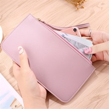 Unisex Long Wallet PU Leather ID Credit Bank Business Card Holder Case Zipper Coin Purse Female Clut