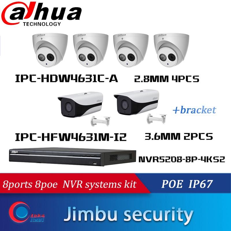 dahua cctv NVR kits 8ports 8poe with 4pcs dome camera built in mic and 2pcs outdoor bullet ip camera IR 80M DH-IPC-HFW4631M-I2