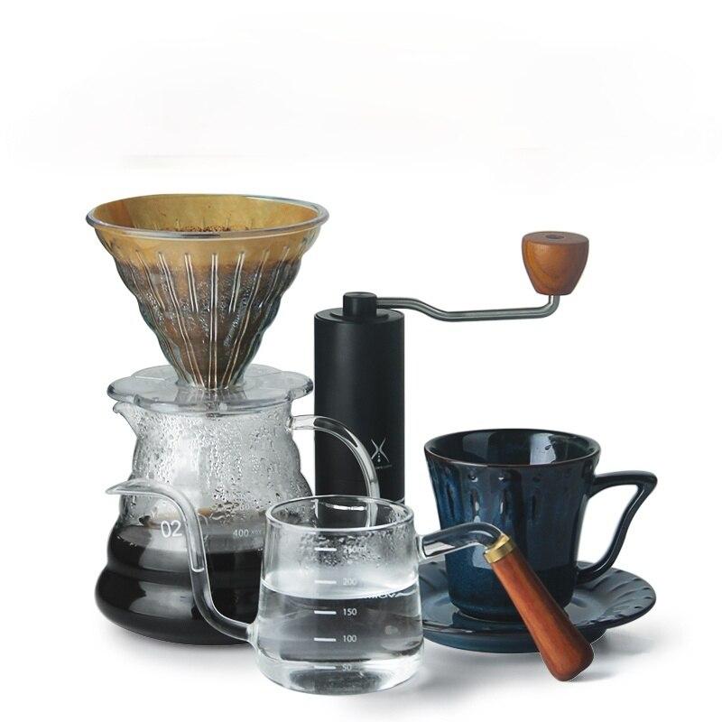 Moedor de café do agregado familiar conjunto criatividade percolador copos chá e pires requintado conjunto café retro cafeteira barista ferramentas dk50ct