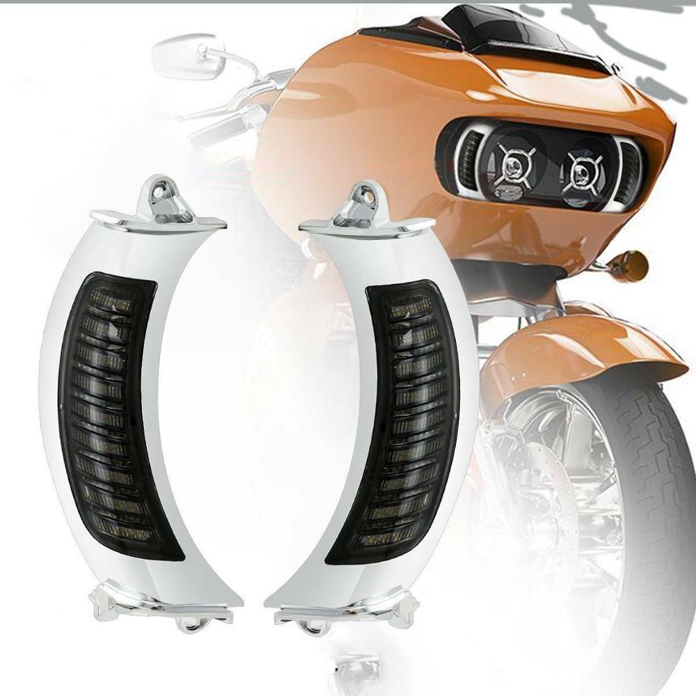 Motocicleta âmbar led side turn signal light para harley touring estrada glide fltr 2015-2019