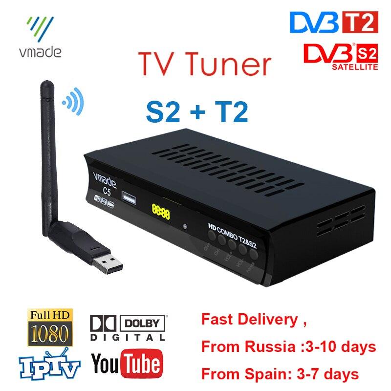DVB S2 DVD T2 receptor de TV por satélite Digital TV Tunner Combo HD H.264 TV BOX soporte Europa IPTV CCAM España Rusia Brasil WIFI USB