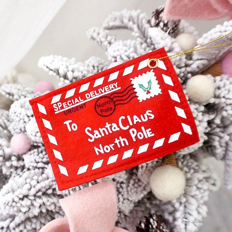 Sobre árbol de Navidad colgante tarjeta titular bolsa de regalo de Santa decoración roja B99