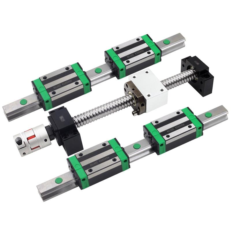 1 مجموعة بالولب SFU1204 + HGR15 دليل خطي 2 قطعة + 4 قطعة النقل الخطي HGH15CA/HGW15CC لقطع التصنيع باستخدام الحاسب الآلي