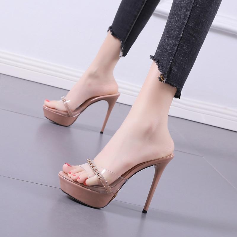 New 2021 Summer Women's Slippers Transparent Platform Slipper Thin Heels Pumps High Heels Flip Flops Open Toe Lady Shoe Slides