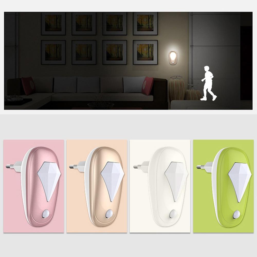 Luz Nocturna LED para enchufar interruptor de Sensor de enchufe europeo lámpara de luz nocturna para niños sala de estar dormitorio iluminación