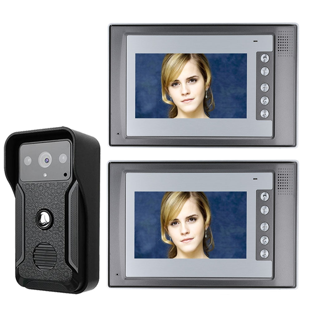 7 Cal TFT 2 monitory drzwi wideo dzwonek telefonu zestaw z interkomem 1-camera 2-monitor Night Vision z IR-CUT HD 700TVL kamery