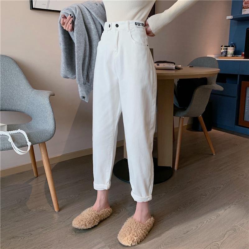 EAD pantalones vaqueros de cintura alta para mujer 2019 otoño nuevo coreano letras impresas sueltos pantalones casuales rectos pantalones salvajes son altos