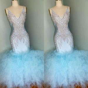 2020 Light Blue Evening Dresses V Neck Lace Beads Crystal Mermaid Prom Dress Floor Length Custom Made Abendkleider Vestidos De