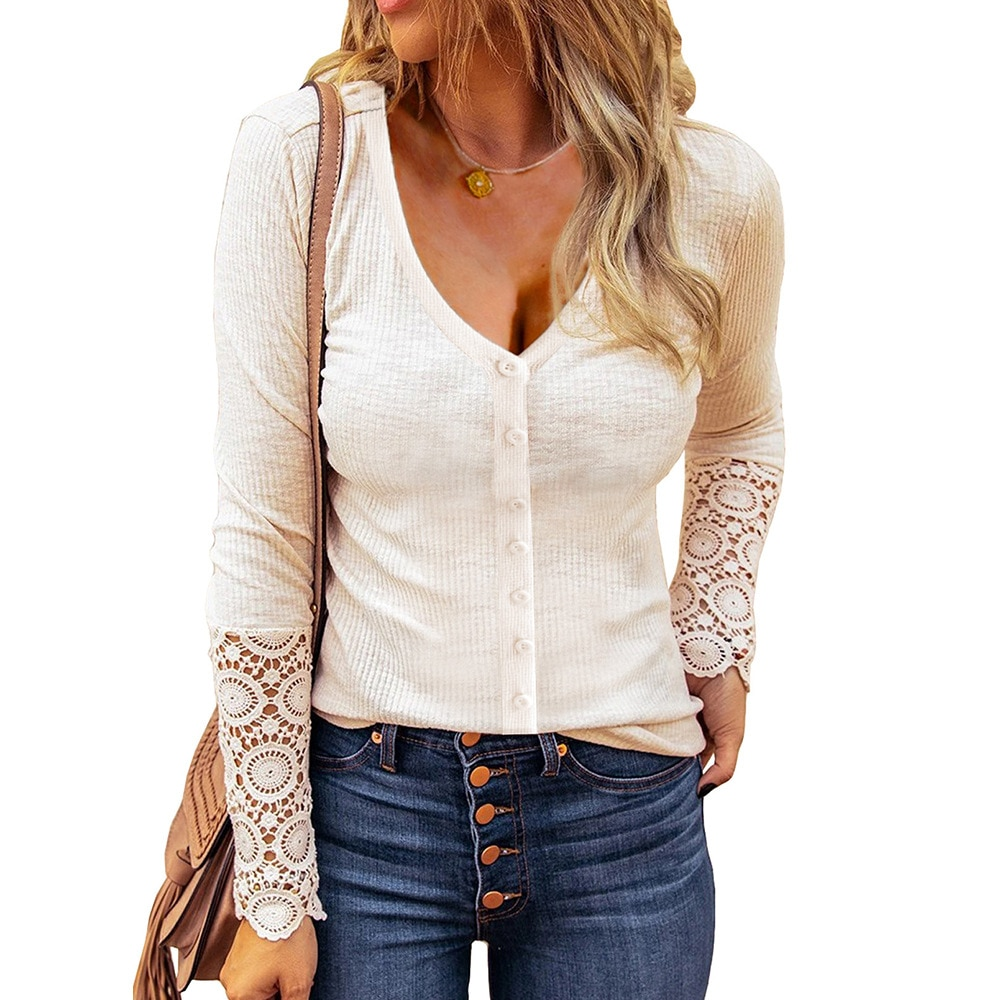 Solid Color Knitwear Women's Autumn European and American New Button Lace Splicing Long Sleeved Top