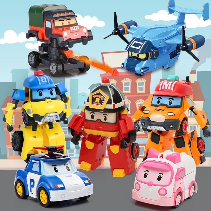 Cartoon Korea Anime Action Figures Robocar Transformation Robot Poly Car Model Kids Boys Toys For Children Gift