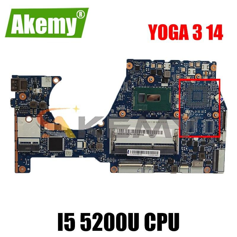 Akemy BTUU1 NM-A381 اللوحة لينوفو اليوغا 3 14 YOGA3 14 كمبيوتر محمول اللوحة وحدة المعالجة المركزية I5 5200U DDR3 100% اختبار