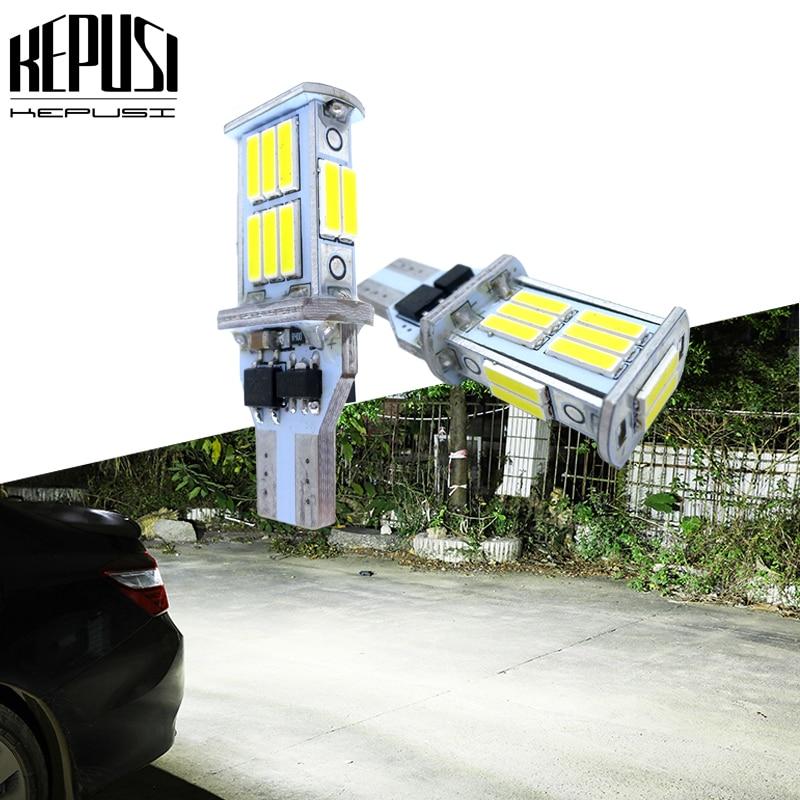 2x T15 W16W 921 Super brillante de alta calidad 18 SMD 7020 LED Canbus sin ERROR, Bombilla de reserva de apoyo para coche, indicador lateral de xenón blanco