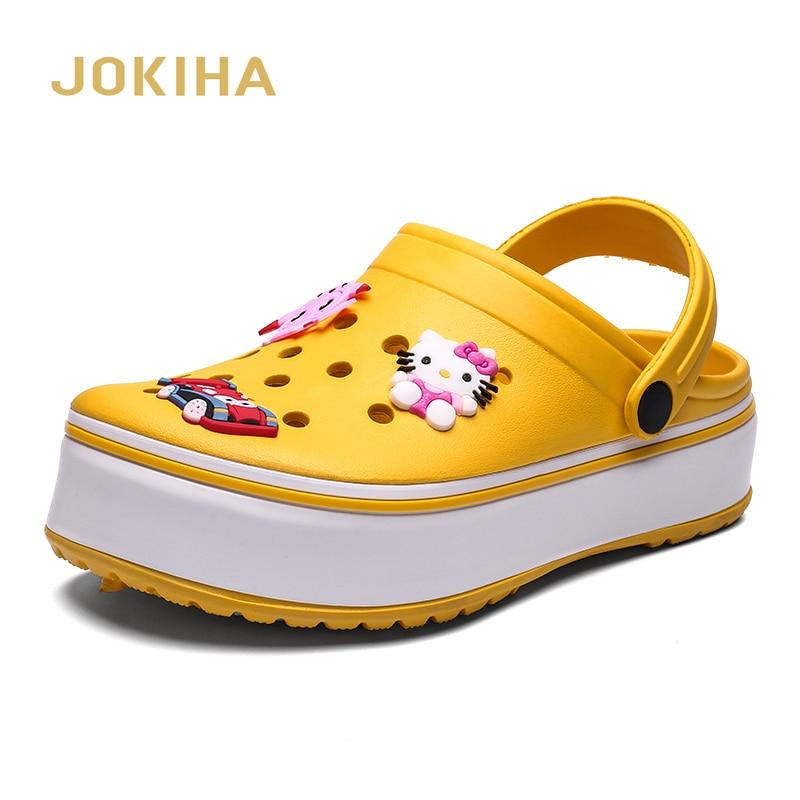 2020 Summer Clogs Women Fashion Flatform Clogs Sandals Thick Bottom Garden Slippers Woman Candy Color Mule Clogs Shoes Big Size