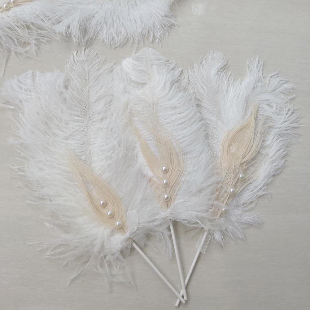Romántico Durable avestruz perlas pluma torta Topper bandera fiesta de cumpleaños pastel boda jardín decoración de pastel de fiesta