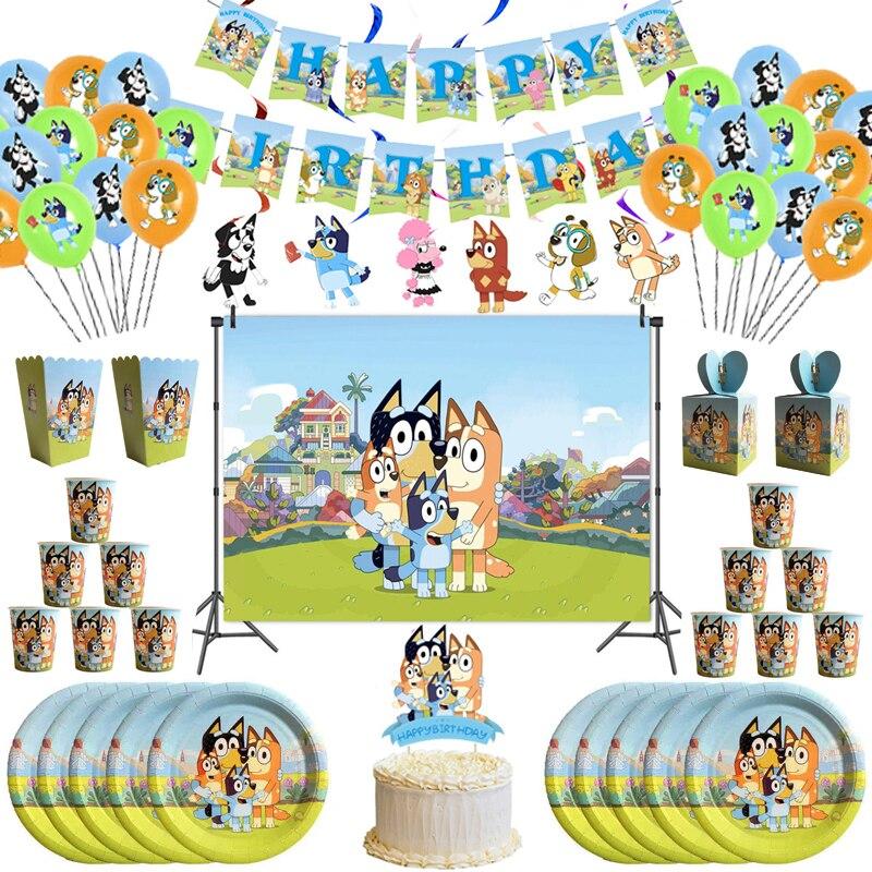 Детский мультяшный бинго Bluey принадлежности для тематической вечеринки чашки тарелки салфетки одноразовая посуда детский душ Bluey для детск...