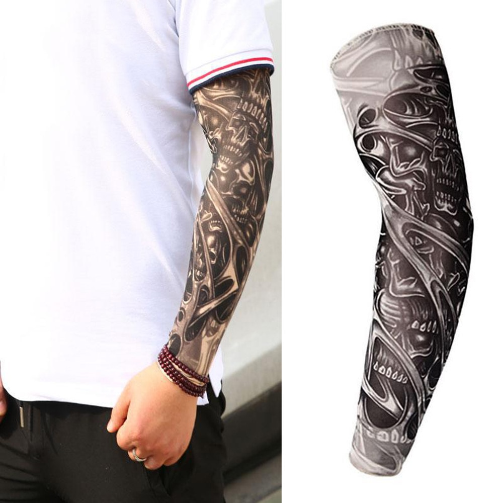 1 unidad, tatuaje 3D transpirable, protección para brazos UV, calentadores de brazo, cubiertas protectoras para el sol para ciclismo, mangas refrigerantes de verano de secado rápido