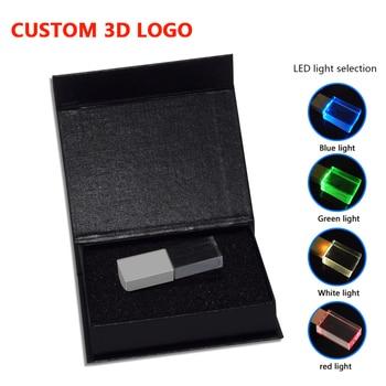 LED Crystal USB Stick 2.0+box Glass Pen drive Memory Disk Pen Drive 32GB 16GB 8GB 4GB 64GB 128GB USB Flash Drive business gift