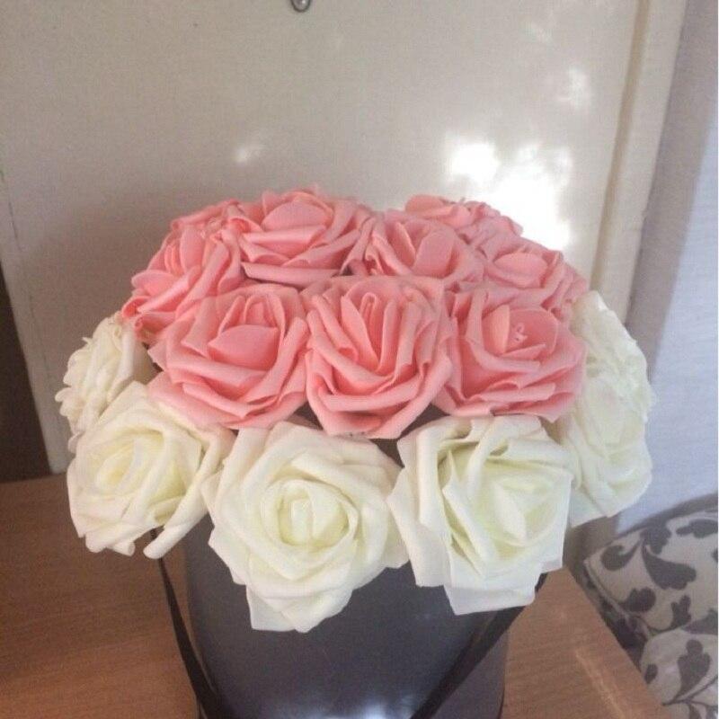 Купить с кэшбэком 8cm Big PE Foam Flowers Artificial Rose Flower Bridal Bouquet Wedding Christmas Party Decor DIY Scrapbooking Fake Flowers