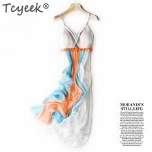 Tcyeek été Boho robe femmes 100% robes en soie véritable élégant Sexy sans manches plage robes de fête Maxi Vestidos Ropa Mujer 2020