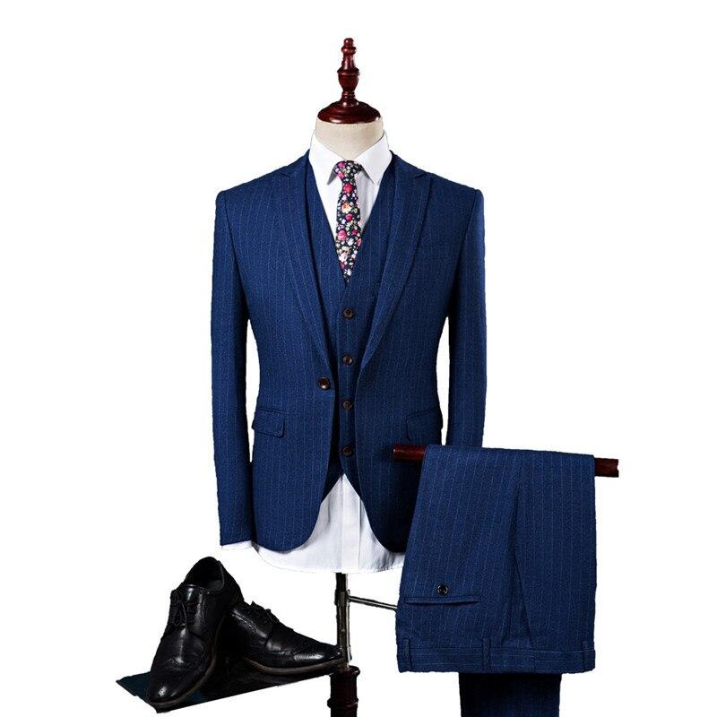 Men's suits fashion slim striped men's suit 3-piece blazer pants vest men's business casual professional wear suit costume homme