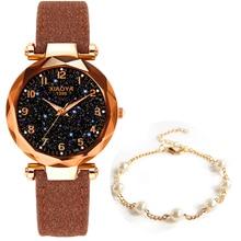 Top Brand Watches For Women Rose Gold Mesh Magnet Buckle Starry Quartz Watch Geometric Surface Casua