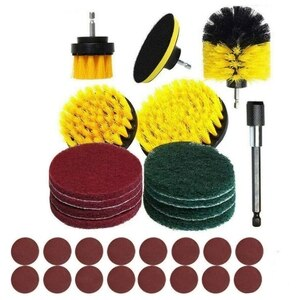 30-Piece Drill Brush Accessory Kit Power Cleaning Brush for Drill Bits Scrubbing Pad Polishing Pad with Extension Rod