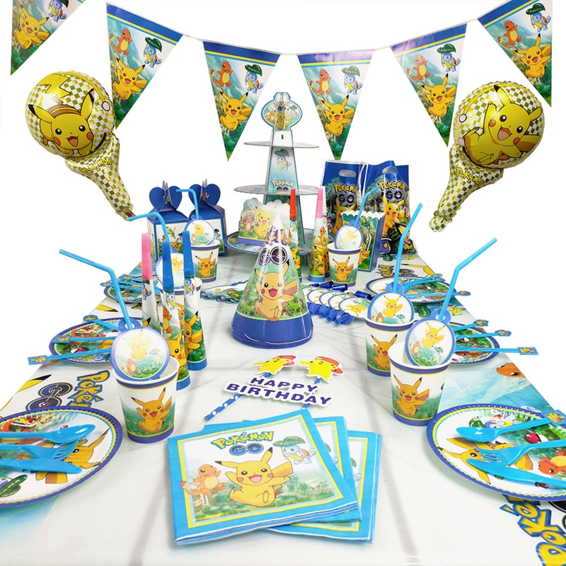 AliExpress - Pokemon Pocket Monsters Birthday Party Decoration Toy Set Cartoon Pikachu Anime Figures Family Party Dining Table Toy Child Gift