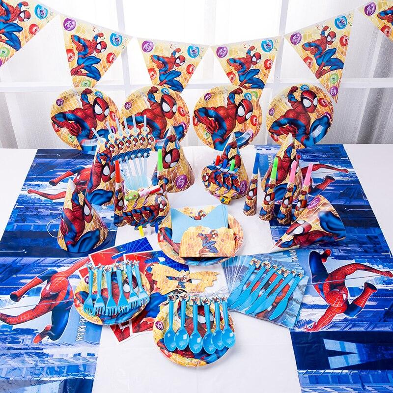 На тему Человека-паука одноразовая посуда для дня рождения, скатерть, бумажная чашка, тарелка, салфетка, детские товары для ежедневной вечер...