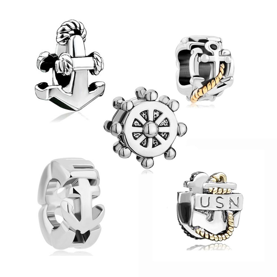 Âncora com corda para pulseira pandora, frete grátis, amuleto dourado