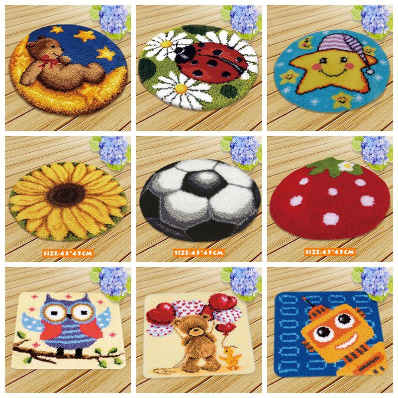 Serie de dibujos animados, juego de alfombra con gancho y enganche, juegos de aguja de lengüeta, bordado DIY, Alfombra de punto Fomiaran para juego de costura