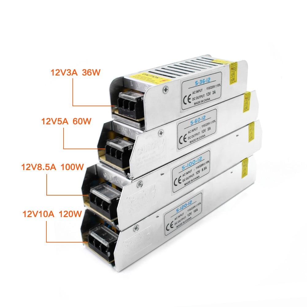 Adaptador AC/DC 12V fuente de alimentación LED controlador iluminación convertidor 220V a 12V adaptador de fuente de alimentación transformador 3A 5A 10A 12A 15A 20A