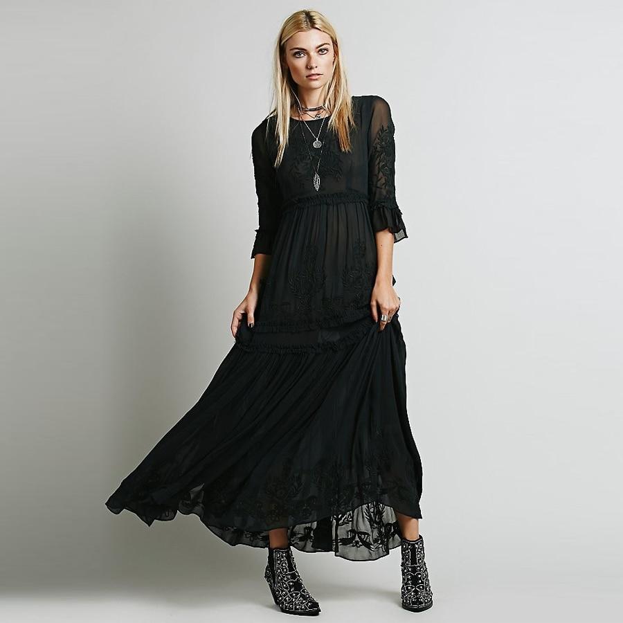 Teelwanda-Vestidos bohemios de manga ancha, vestido bohemio elegante con bordado floral y volantes para mujer, Vestidos playeros bohemios de 2020