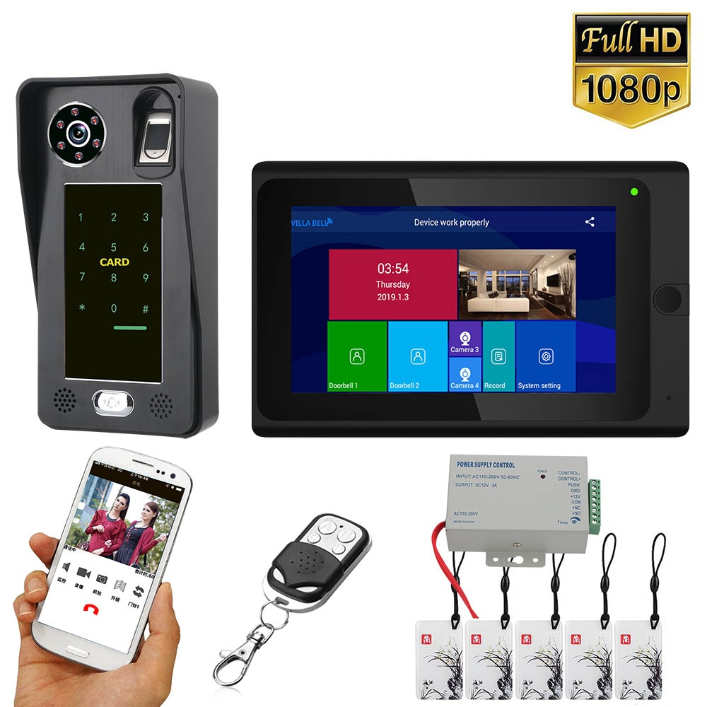 7 بوصة واي فاي اللاسلكية بصمة IC بطاقة فيديو باب الهاتف نظام الاتصال الداخلي بجرس الباب نظام مع السلكية HD 1080P كاميرا