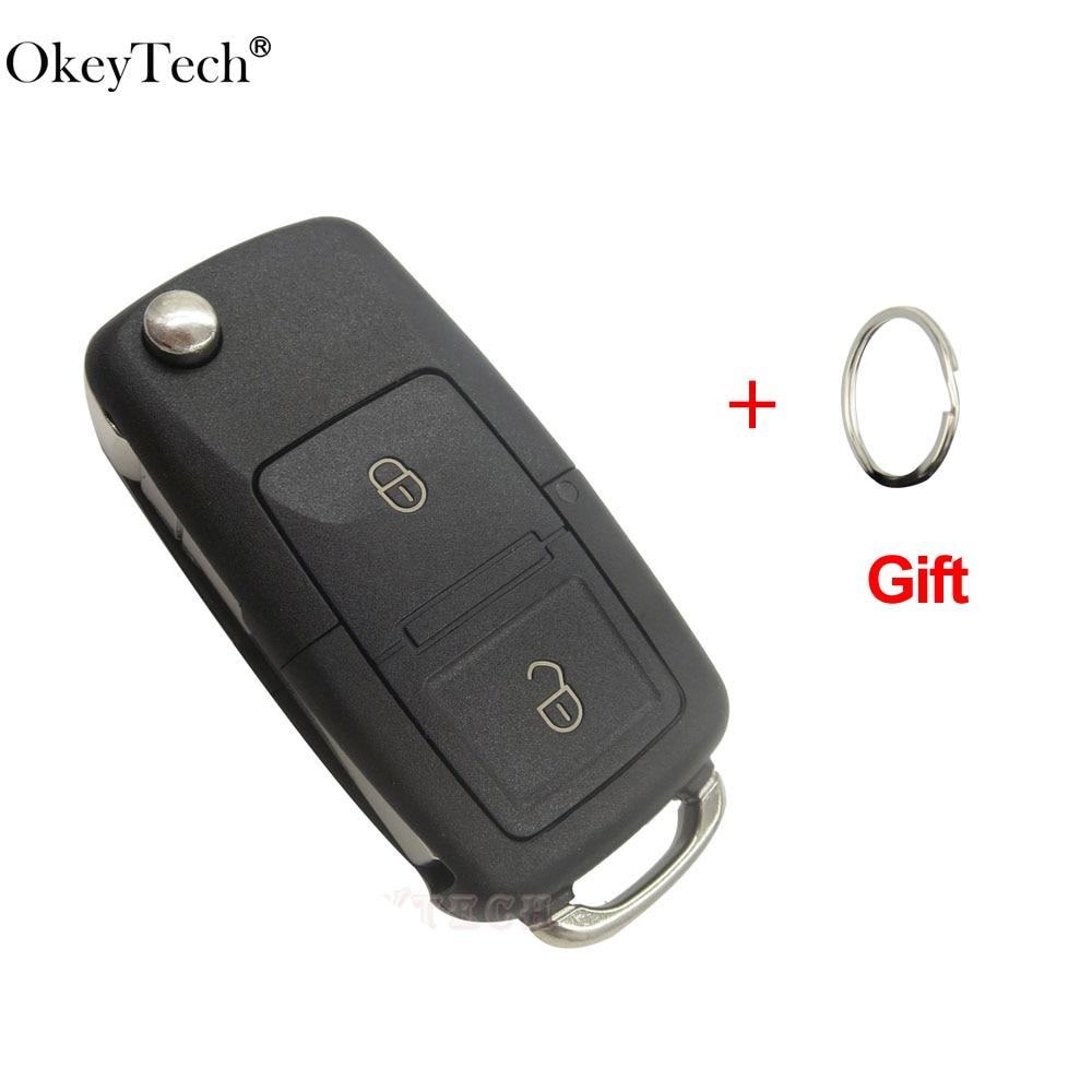 OkeyTech 2 Button Remote key Shell Flip Folding Car For VW Volkswagen polo Golf MK4 Bora Seat Altea Alhambra Ibiza For Skoda Key