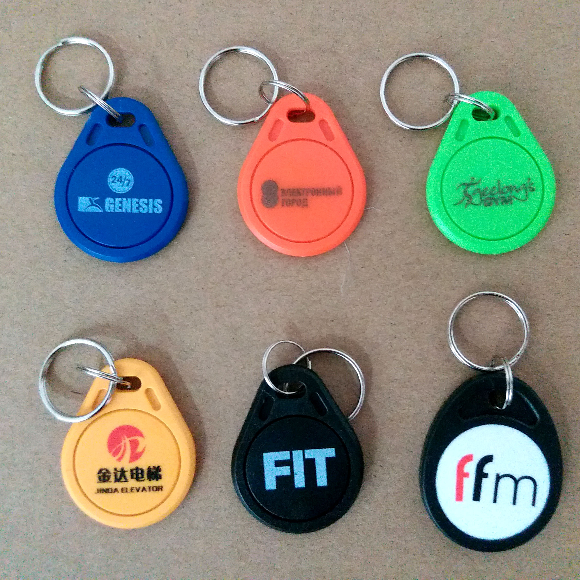 1000pcs Custom Printing RFID Tag 125KHz 13.46MHz Token Key Fobs Keyfob RFID Card Printed Arbitrary Pattern LOGO