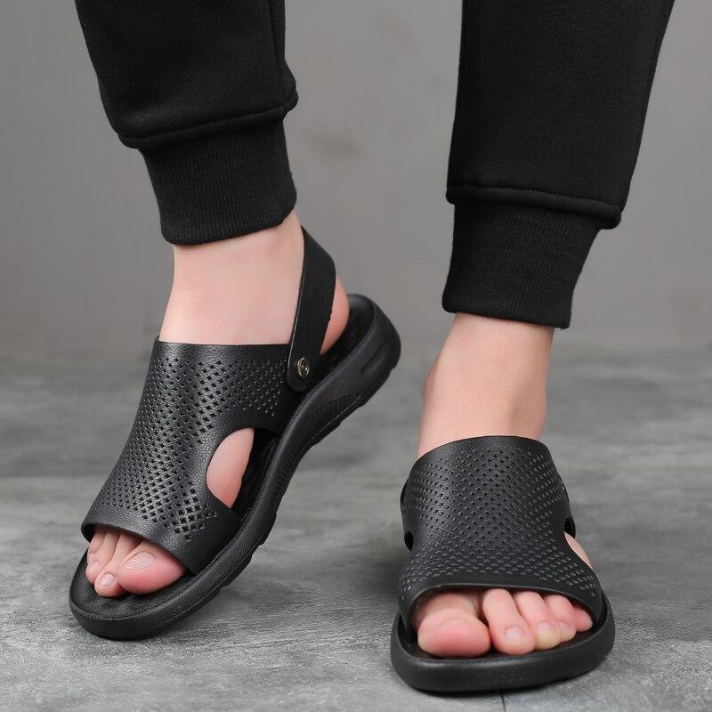 Sapatos masculinos de couro genuíno verão novos sandálias masculinas respirável sandálias de moda chinelos de praia