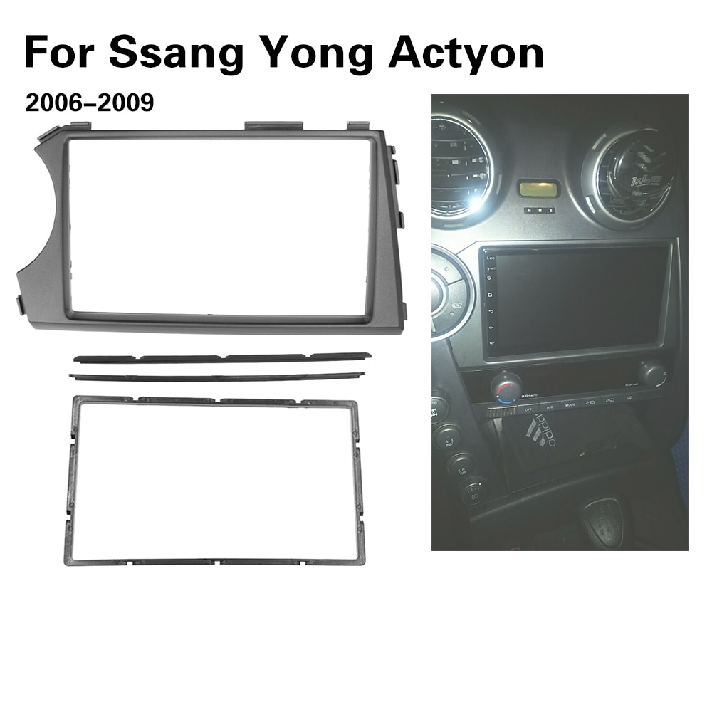 2DIN Radio Fascia para SSANG YONG Actyon LHD La izquierda Facia Dash CD de instalación de montaje Kit para salpicadero Marco de panel