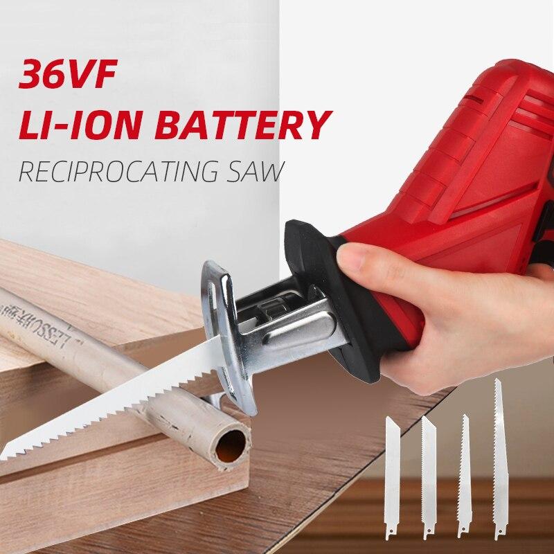 Akumulator litowo-jonowy akumulatorowa piła szablasta elektryczna piła szablasta piła do drewna piła łańcuchowa do cięcia metalu przenośna 36VF 4500mAh