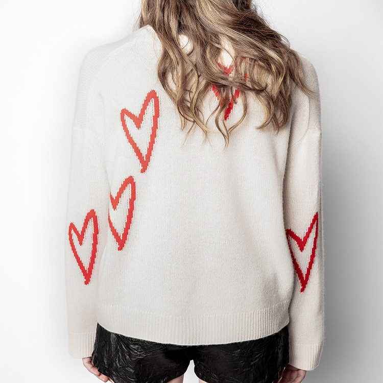 New Women's Round-neck Long-sleeved Cashmere Heart-shaped Embroidered Sweater In Autumn and Winter 2021 enlarge