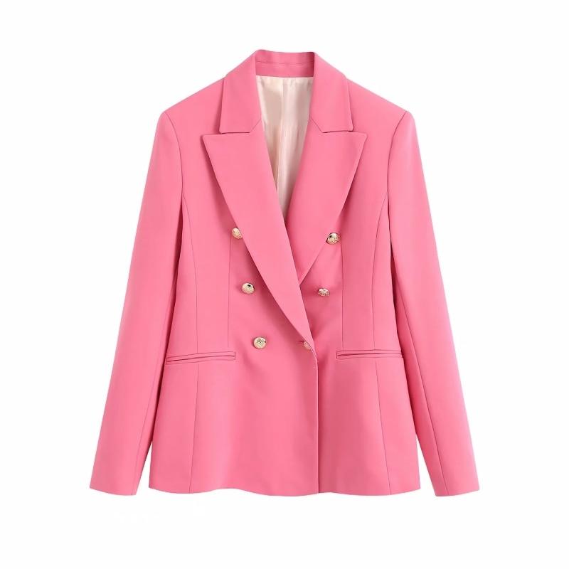 Collar costurado duplo breasted casual terno casaco feminino 2020 elegante feminino manga longa outerwear senhora do escritório solto topos c879