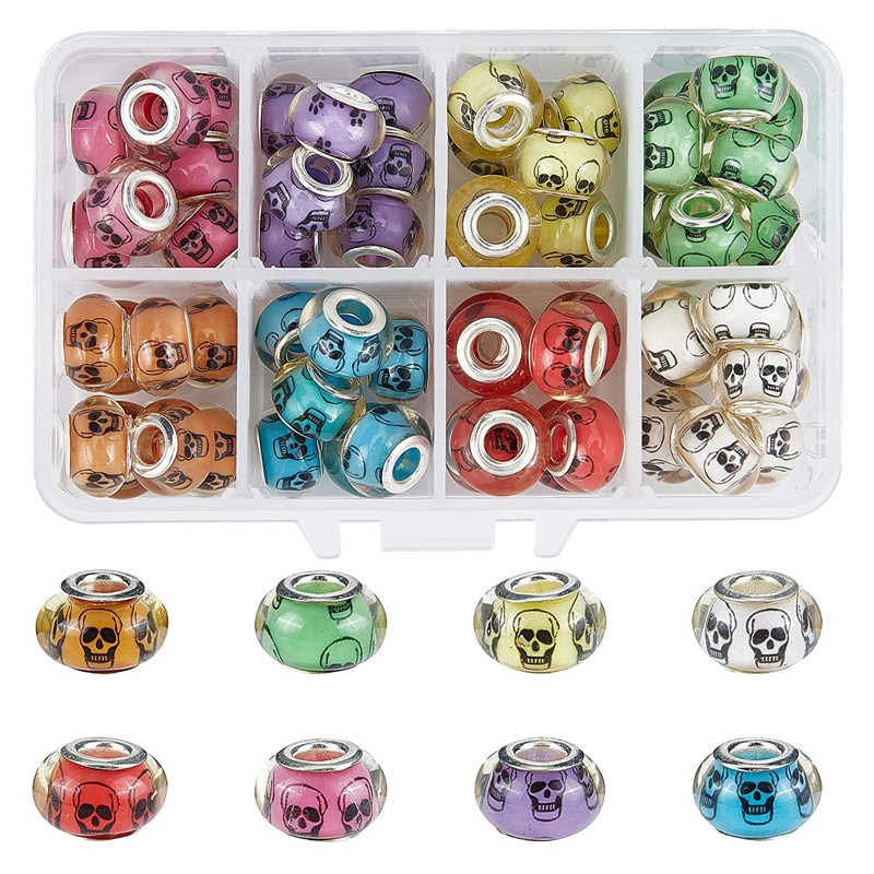 1Skull Shape Color Resin Murano Rondelle Large Hole Spacer Beads Fit Pandora Bracelet Charms Necklaces Women Men Jewelry  - buy with discount