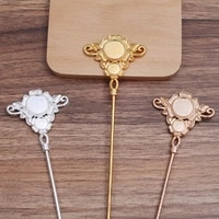 2pcs 46x47mm alloy receptacle hair forks sticks hair pin hairpin hair wear findings diy vintage jewelry wholesale