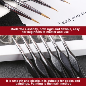 9pcs Watercolor Hook Line Pen Soft Outline Painting Miniature Detail Paint Brush Set for Gouache Oil Acrylic Painting DQ