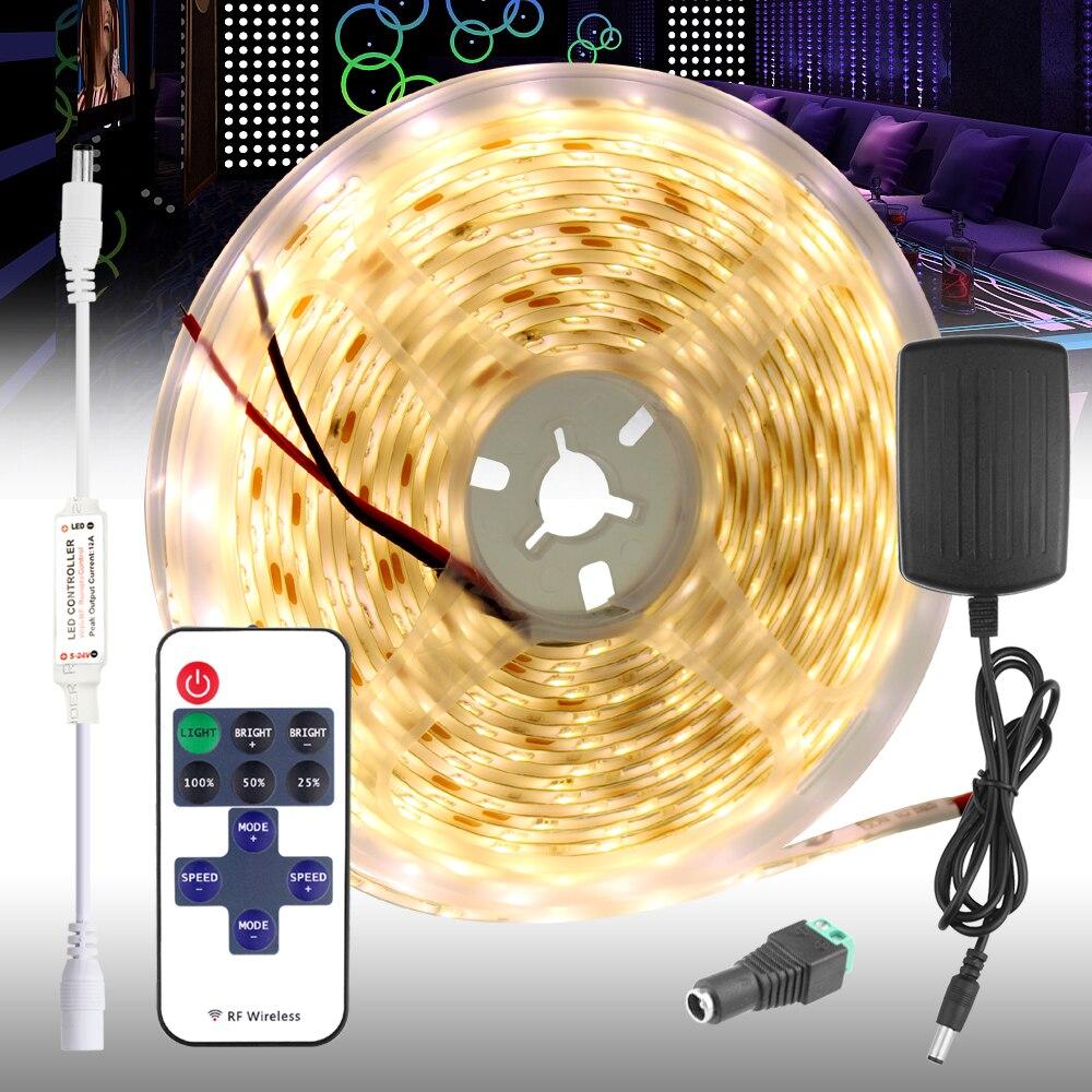 Tira de Led de 5m 12v blanco cálido rojo verde azul Epistar 60 unids/m impermeable tira de luz Led Control remoto cinta de luz de fondo cinta Led