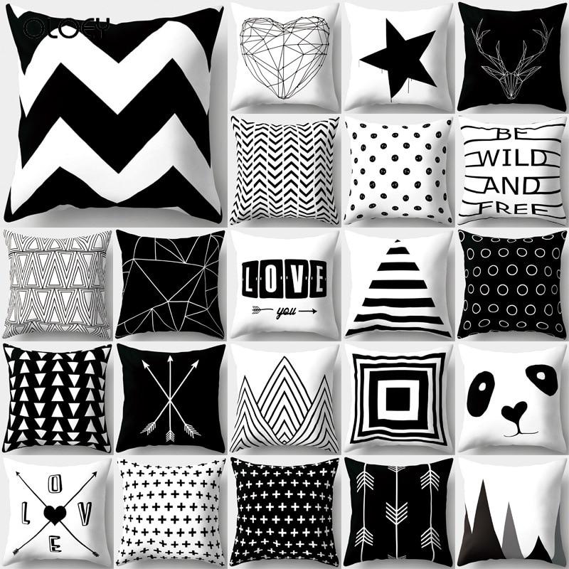 Capa de almofada simples preto e branco conjunto de almofada de poliéster conjunto de almofada de poliéster listrado malha triângulo geometria casa capa de almofada.