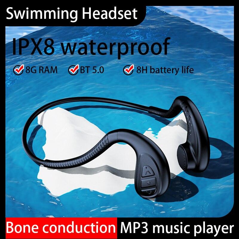 Bluetooth Headset Swimming 8G RAM MP3 Bone Conduction Sports Headphone IPX8 Waterproof Wireless Bluetooth Earphone For All Phone enlarge