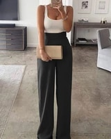 summer party wear womens sexy plain spaghetti strap patchwork wide leg jumpsuit casual sleeveless long pants outfits